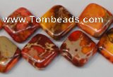 CDI545 15.5 inches 14*14mm diamond dyed imperial jasper beads