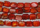 CDI551 15.5 inches 8*10mm rectangle dyed imperial jasper beads