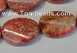CDI575 15.5 inches 18*25mm twisted oval dyed imperial jasper beads