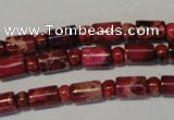 CDI597 15.5 inches 3*6mm rondelle 6*9mm tube dyed imperial jasper beads