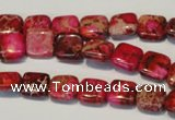 CDI620 15.5 inches 10*10mm square dyed imperial jasper beads