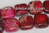 CDI623 15.5 inches 16*16mm square dyed imperial jasper beads