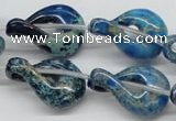 CDI66 16 inches 20*30mm petal shaped dyed imperial jasper beads