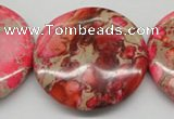 CDI661 15.5 inches 40mm flat round dyed imperial jasper beads