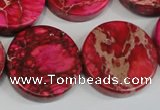 CDI665 15.5 inches 25mm coin dyed imperial jasper beads