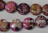 CDI706 15.5 inches 14mm flat round dyed imperial jasper beads