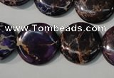 CDI707 15.5 inches 20mm flat round dyed imperial jasper beads