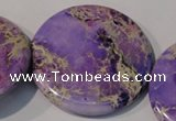 CDI709 15.5 inches 55mm flat round dyed imperial jasper beads