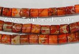 CDI735 15.5 inches 6*6mm tube dyed imperial jasper beads