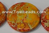 CDI758 15.5 inches 40mm flat round dyed imperial jasper beads