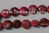 CDI785 15.5 inches 10mm flat round dyed imperial jasper beads