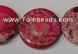 CDI788 15.5 inches 30mm flat round dyed imperial jasper beads