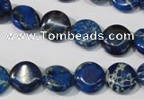 CDI906 15.5 inches 12mm flat round dyed imperial jasper beads