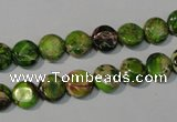 CDI935 15.5 inches 8mm flat round dyed imperial jasper beads