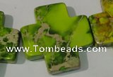 CDI953 15.5 inches 35*35mm cross dyed imperial jasper beads
