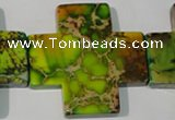 CDI954 15.5 inches 45*45mm cross dyed imperial jasper beads