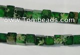 CDI969 15.5 inches 6*6mm cube dyed imperial jasper beads