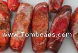 CDI984 15 inches 13*30mm � 16*50mm irregular dyed imperial jasper beads