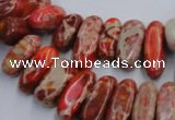 CDI985 15.5 inches 6*15mm - 8*20mm dyed imperial jasper chips beads