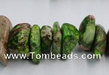 CDI989 15.5 inches 6*18mm - 10*22mm dyed imperial jasper chips beads