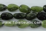 CDJ170 15.5 inches 6*9mm faceted flat teardrop Canadian jade beads