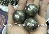 CDN10 30mm round pyrite gemstone decorations wholesale
