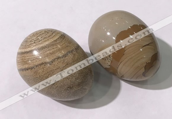 CDN1383 35*45mm egg-shaped picture jasper decorations wholesale