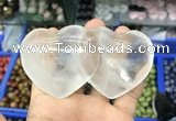 CDN590 50*90mm double heart white crystal decorations wholesale