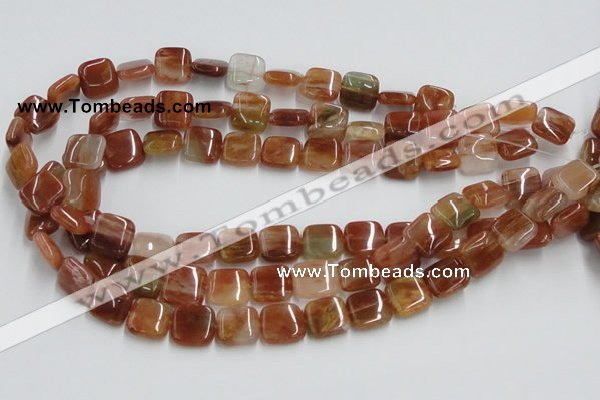 CDQ07 15.5 inches 14*14mm square natural red quartz beads wholesale