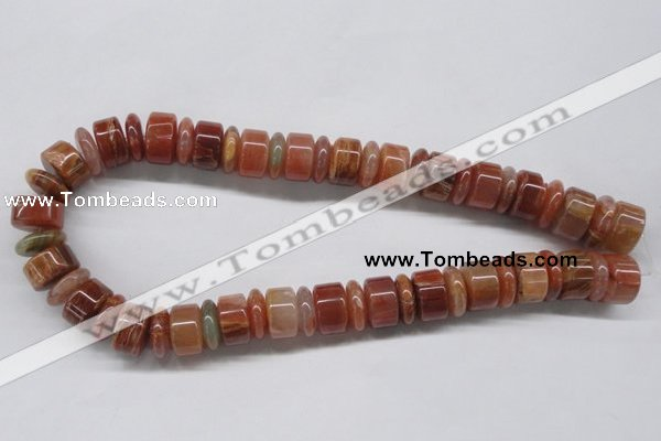 CDQ33 15.5 inches 5*16mm & 10*16mm rondelle natural red quartz beads