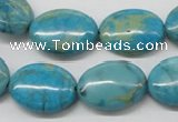 CDS04 16 inches 15*20mm oval dyed serpentine jasper beads wholesale