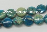 CDS11 16 inches 12mm flat round dyed serpentine jasper beads wholesale