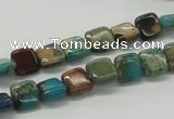 CDS19 16 inches 8*8mm square dyed serpentine jasper beads wholesale