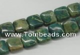 CDS20 16 inches 10*10mm square dyed serpentine jasper beads wholesale