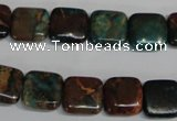 CDS262 15.5 inches 12*12mm square dyed serpentine jasper beads