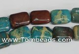 CDS264 15.5 inches 10*14mm rectangle dyed serpentine jasper beads