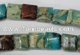 CDS38 12*12mm square double drilled dyed serpentine jasper beads