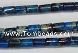 CDT227 15.5 inches 6*8mm tube dyed aqua terra jasper beads