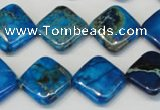 CDT248 15.5 inches 16*16mm diamond dyed aqua terra jasper beads