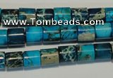 CDT280 15.5 inches 8*8mm tube dyed aqua terra jasper beads
