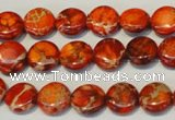 CDT516 15.5 inches 10mm flat round dyed aqua terra jasper beads