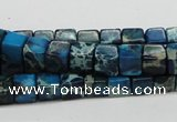 CDT52 15.5 inches 6*6mm cube dyed aqua terra jasper beads wholesale
