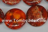 CDT522 15.5 inches 25mm flat round dyed aqua terra jasper beads