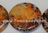 CDT526 15.5 inches 55mm flat round dyed aqua terra jasper beads