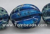 CDT62 15.5 inches 25*33mm star fruit shaped dyed aqua terra jasper beads