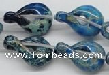 CDT66 15.5 inches 20*30mm petal shaped dyed aqua terra jasper beads