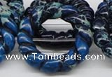 CDT67 15.5 inches 40mm donut shaped dyed aqua terra jasper beads