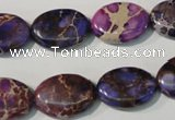CDT711 15.5 inches 13*18mm oval dyed aqua terra jasper beads