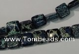 CDT901 15.5 inches 8*8mm square dyed aqua terra jasper beads
