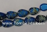 CDT915 15.5 inches 9*13mm flat teardrop dyed aqua terra jasper beads